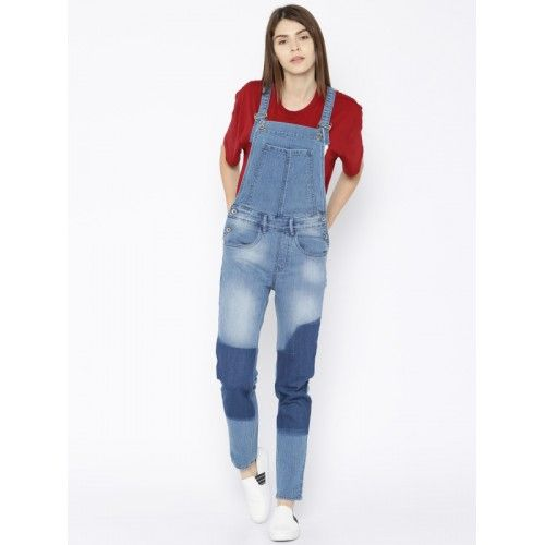 Buy Roadster Blue Washed Denim Dungarees online Buy Roadster Blue Washed Denim Dungarees online in India at best price. Blue denim dungarees  lightly washed has five pockets adjustable shoulder straps with button clos