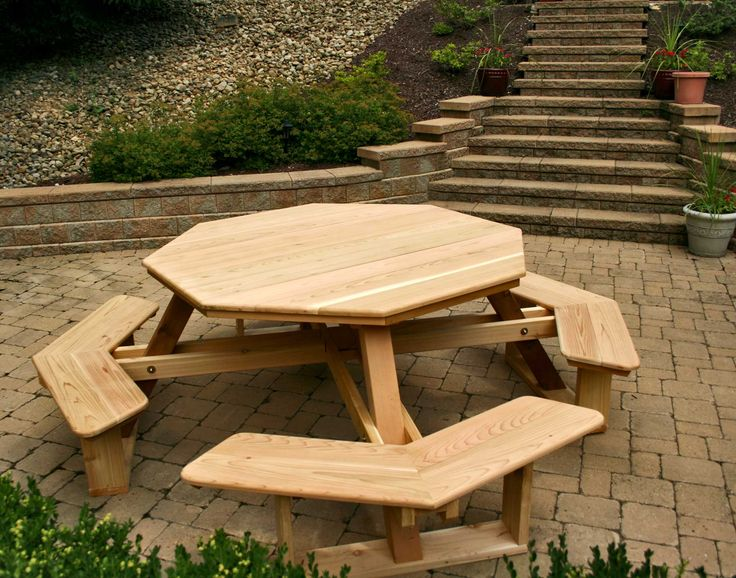 Furniture hexagon table picnic table plans with separate for Pallet picnic table plans