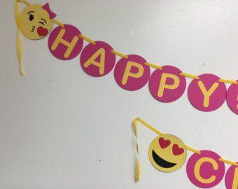 Emoji Happy Birthday banner / Emojis party /Emojis Birthday /