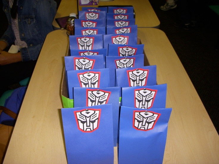 Transformer Autobot Treat Bags Made With Blue Gift Bags