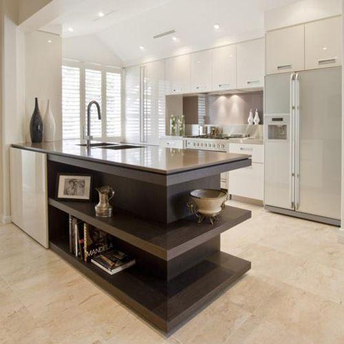 open shelves at end of island bench house kitchen pinterest. Black Bedroom Furniture Sets. Home Design Ideas