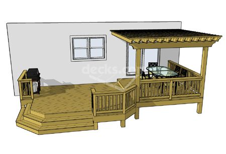 12 deck plan sizes available for immediate download from 26x14 sf to 36x14 sf.  Decorative pergola covers a 10x12 sf area and a seperate grilling area.  Free deck plans available for immediate download.