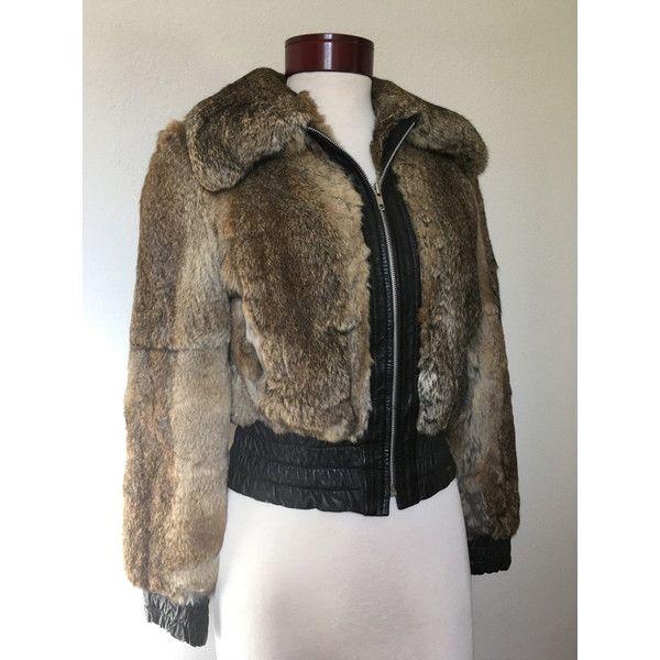 Vintage rabbit fur bomber jacket, 70s cropped bomber, 1970s brown fur... ($70) ❤ liked on Polyvore featuring outerwear, jackets, flight bomber jacket, fur bomber jacket, rabbit fur jacket, cropped bomber jacket and vintage fur jacket
