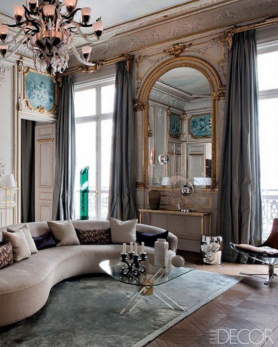 Glam Grand Salon Paris Apartment Gold Molding Gray