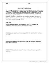 Teach upper elementary and middle school students about New Year's resolutions. This holiday-themed activity explains what resolutions are and why they should make them.