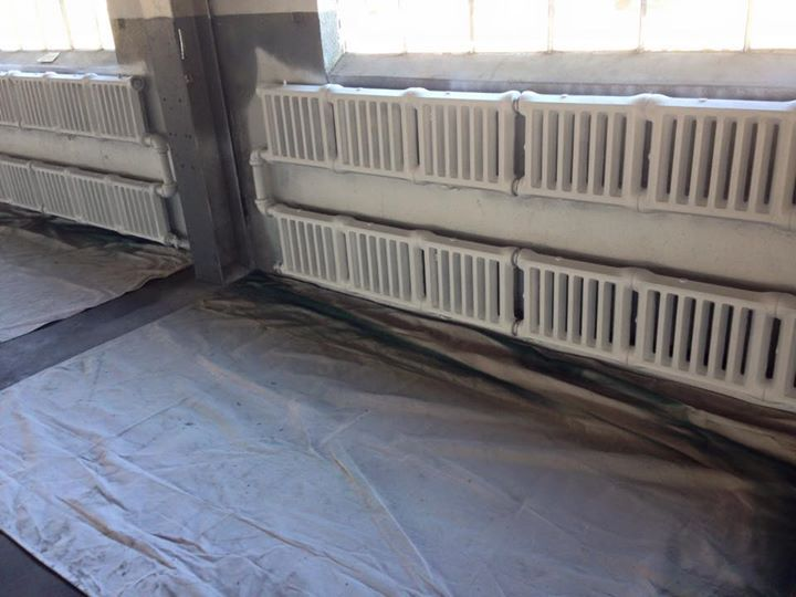 This wonderful weather has been very helpful for all the work that has been going on at the Packard Proving Grounds Historic Site this week! Our volunteers have been working round the clock to get the radiators and Windows primed and painted and it's really looking good in the Repair Garage!