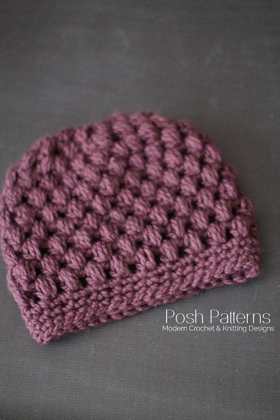 Crochet PATTERN  Puff Stitch Crochet Messy Bun Hat by PoshPatterns