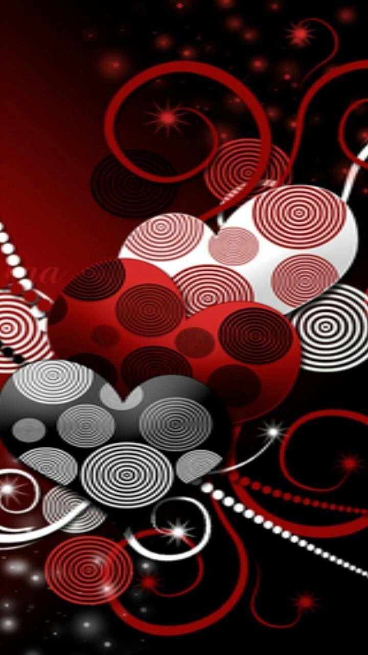 Red Black White Hearts Heart Wallpaper Valentines Wallpaper Red Wallpaper