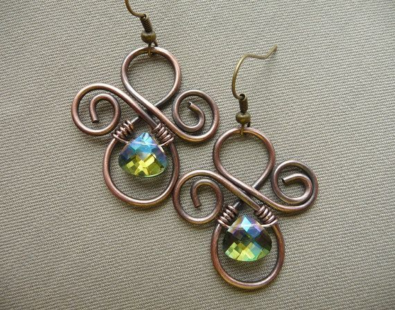 Wire Wrapped Jewelry Handmade Copper and Green by fancyyoudesigns