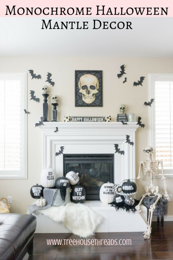 Black and White Halloween Mantle Decor -  Treehouse Threads, Funny pumpkin puns, monochrome, chic, DIY, easy, party, skulls, bats, fireplace, free printable