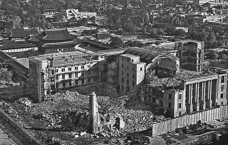 1954 Demolition of the Japanese Government-General Building. Seoul.