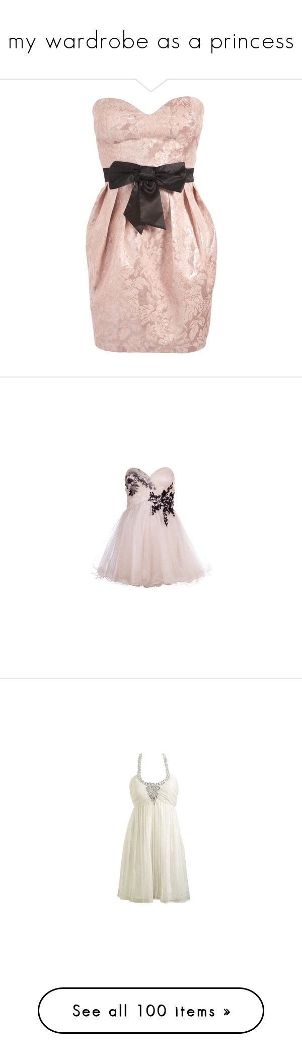 """♥ my wardrobe as a princess ♥"" by amyila ❤ liked on Polyvore featuring dresses, vestidos, vestiti, short dresses, women, short strapless dresses, pink mini dress, bandeau dress, exposed zipper dress and short cream dress"