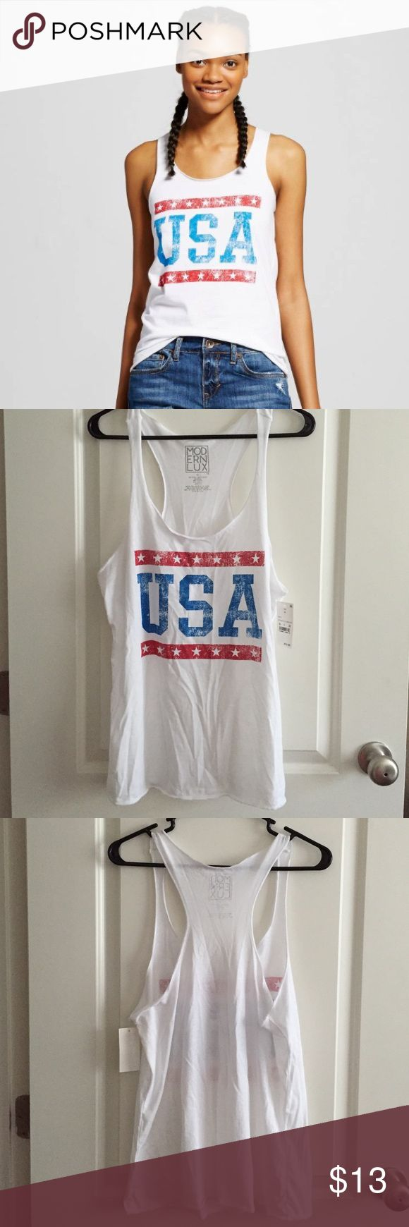 USA Patriotic Racerbank Tank Top Brand new with tags! Festive patriotic tank top perfect for Fourth of July or Labor Day! Runs small Modern Lux Tops Tank Tops