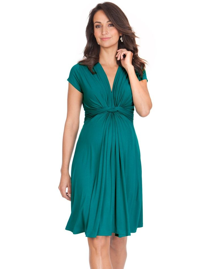 Light and silky stretch fabric in summer green Seraphine's signature knotted front design Flattering v neckline for easy nursing  Seraphine's signature knotted front dress is designed to flatter the female figure before, during and after pregnancy. The elegant knotted detailing highlights your empire waist, drawing attention to the slimmest part of your body. Made in super soft light-weight stretch jersey, this green maternity dress feels luxuriously silky and grows with ...