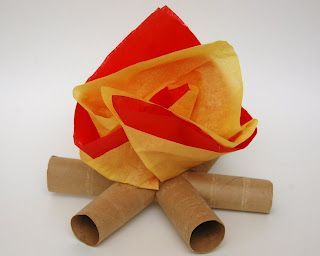 Camp fire made from toilet paper rolls and tissue paper - great for imaginative play