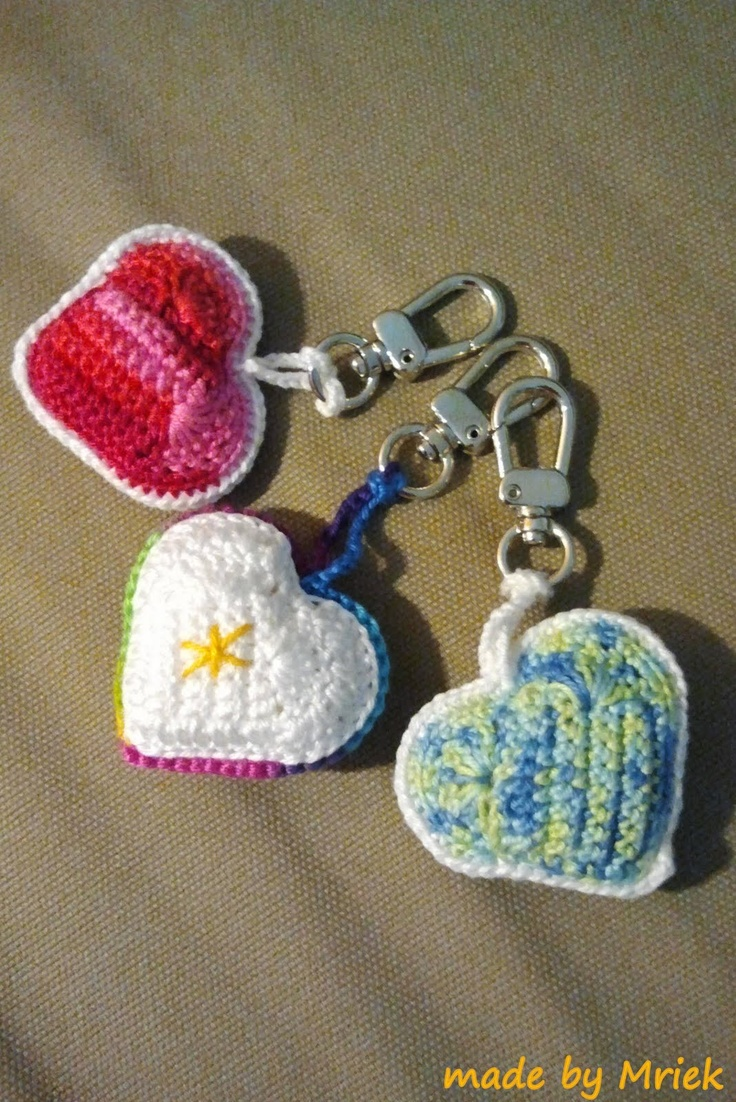 Crochet heart keychain. No instructions, but easy enough to figure out.