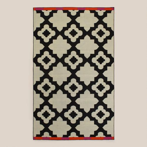Pink orange bordered flat woven indoor outdoor rugs for Woven vinyl outdoor rugs