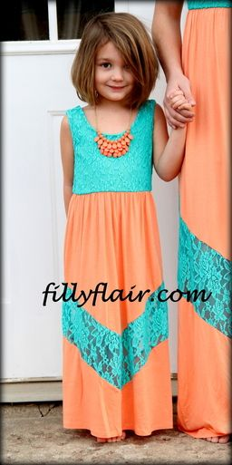t little girls maxi in mint and apricot #kids fashion