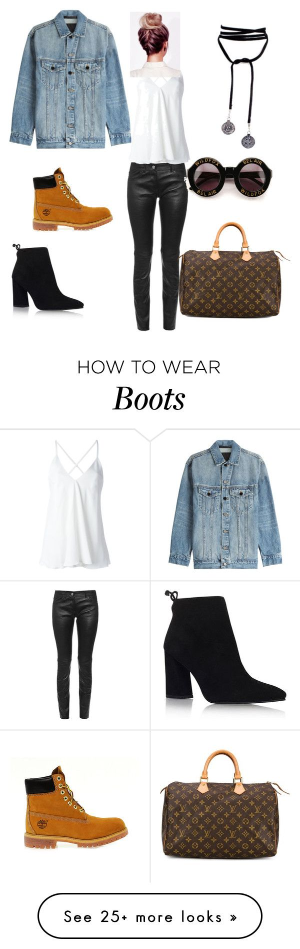 """""""Tims or boots?"""" by nubianempress89 on Polyvore featuring Alexander Wang, Balenciaga, Stuart Weitzman, Timberland, Louis Vuitton, Dondup and Wildfox"""