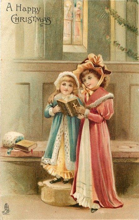 A Happy Christmas ~ 2 girls in church