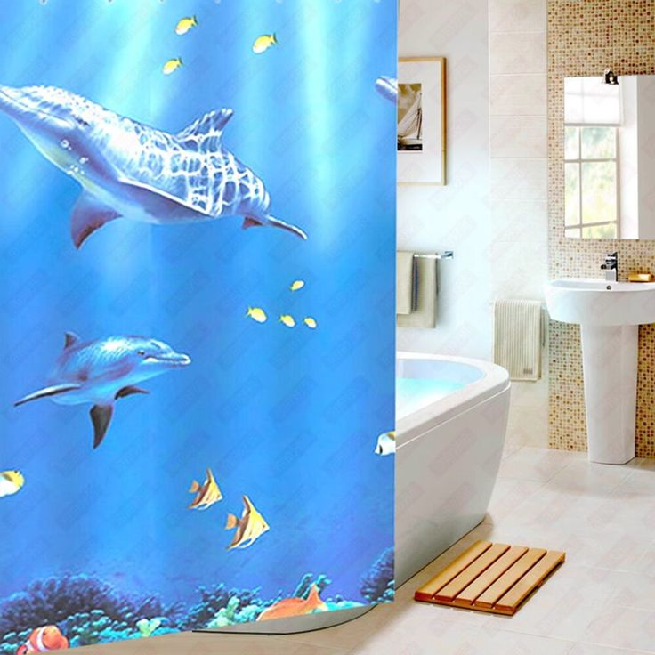 Undersea Scenery Dolphin 3D  Waterproof Fabric Shower Curtains for Bathroom with hooks #Affiliate