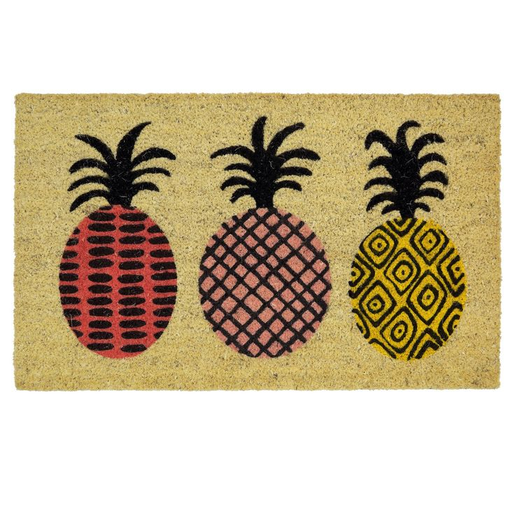 Room Essentials Pineapple Doormat. Bold prints in vibrant lavender, pink and golden yellow add eclectic energy to the playful pineapples of the Room Essentials Pineapple Doormat.  This designer doormat is quality constructed of 100% coir, derived from the fibers of coconuts grown in South India, and is held securely in place by a sturdy vinyl backing.  The natural coir texture inherently whisks away dirt and debris from shoes keeping your indoor floors clean and tidy!<br>• 100%...