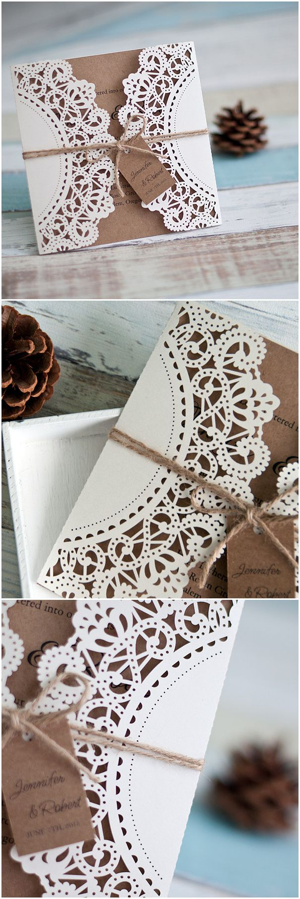 rustic lace and burlap laser cut wedding invitations