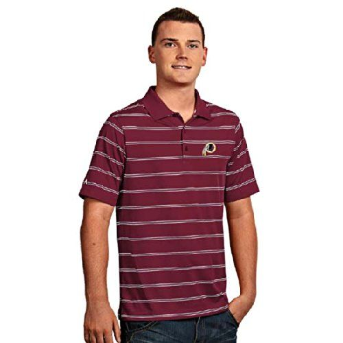 Washington Redskins Mens Deluxe Striped Polo (Team Color: Maroon)  https://allstarsportsfan.com/product/washington-redskins-mens-deluxe-striped-polo-team-color-maroon/  100% polyester Button placket. Embroidered team logo