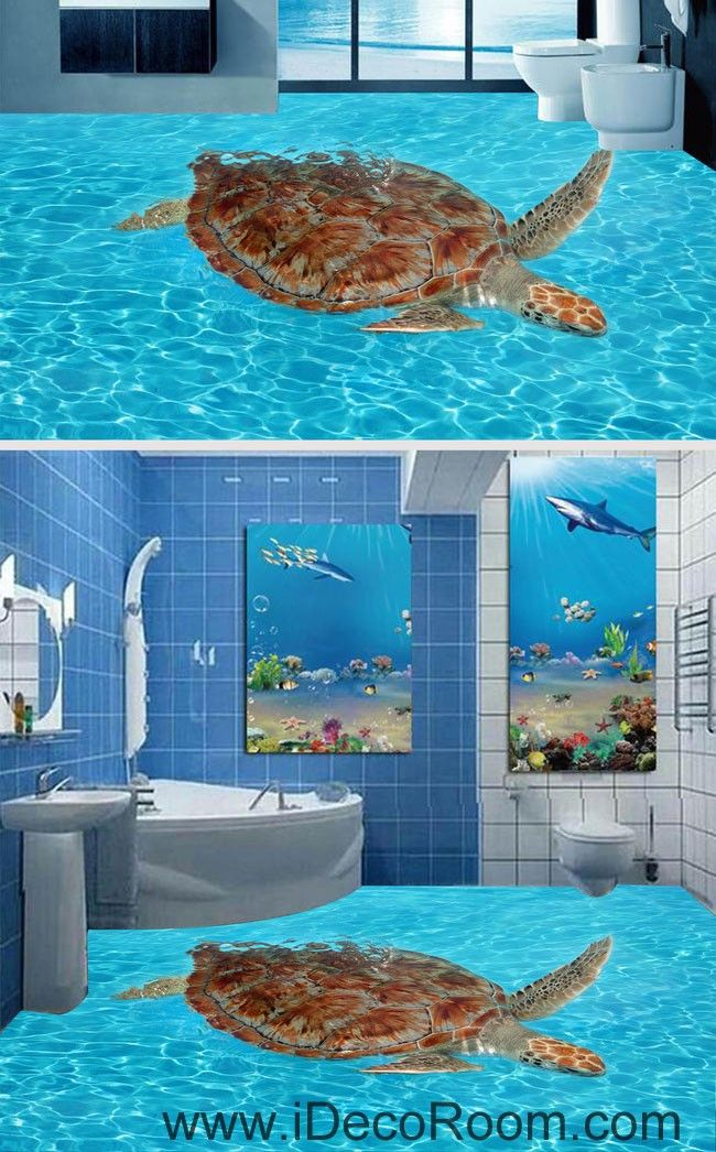 Giant Turtle in the Sea Ocean 00065 Floor Decals 3D Wallpaper Wall Mural Stickers Print Art Bathroom Decor Living Room Kitchen Waterproof Business Home Office Gift