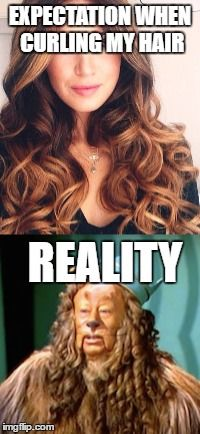 Expectation vs reality when curling my hair  #Lol #cowardlylioncurls #curls #expectationvsreality