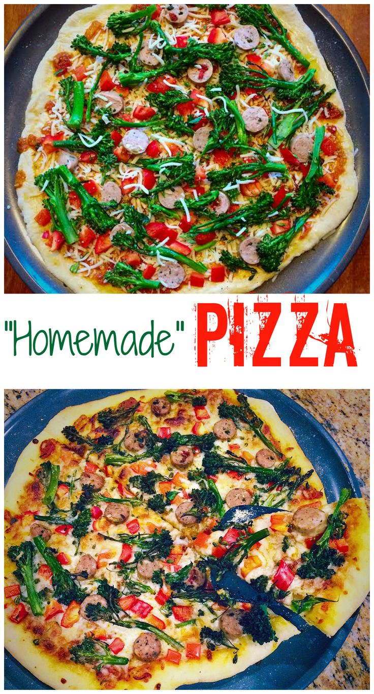 """""""Homemade"""" Pizza with sausage, peppers, and roasted broccolini!   http://minibeagle8.wix.com/thekitchensink"""