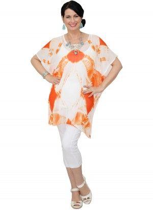 Capri Mid Length Orange & White Kaftan Top  AUD $24.95