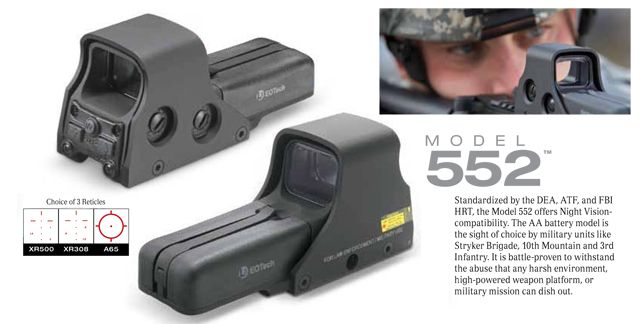 EOTech 552 A65.1 Holographic Weapons Scope, Accessories & Parts, Scopes & Optics, Red Dot Sights - Evike.com Airsoft Superstore
