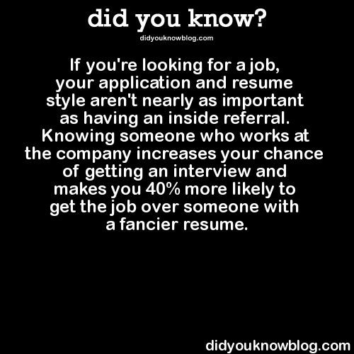 did you know?, If you're looking for a job, your application and...