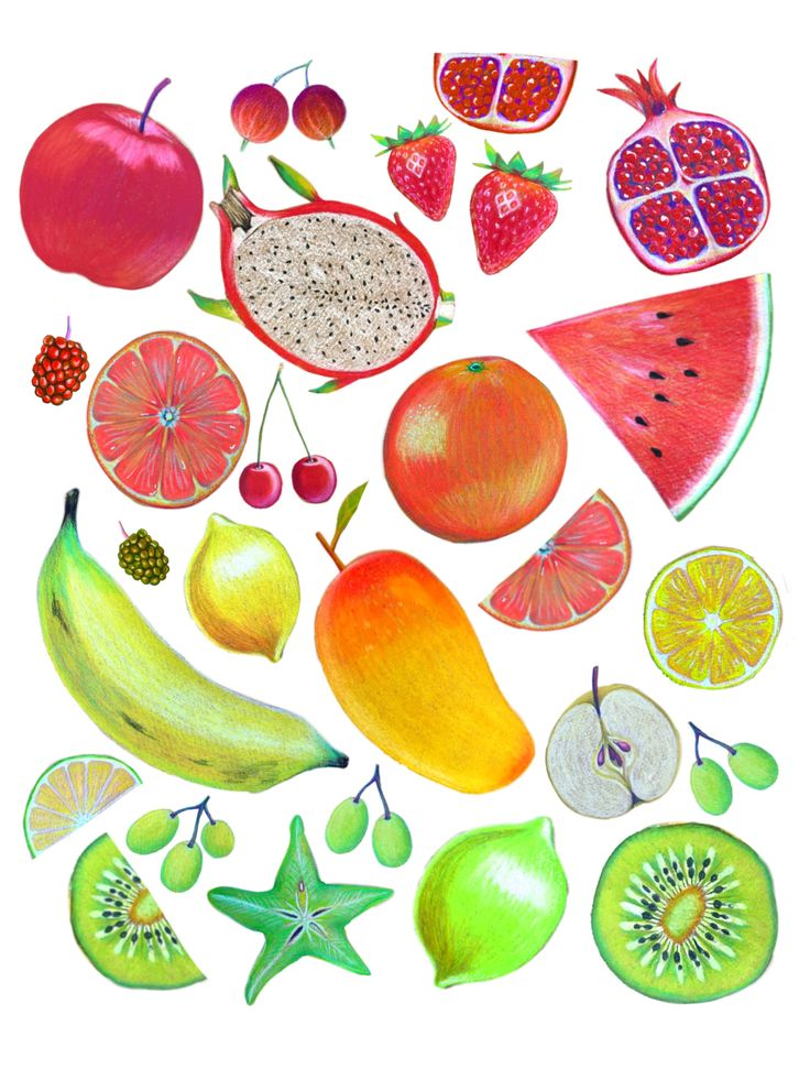 Hand drawn in coloured pencil -Fruit salad :- apples, strawberries, pomegranate, banana, star fruit, mango, lemon, grapes, kiwi fruit, orange, cherries, apples, dragonfruit, berries