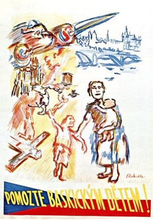 """""""Help the Basque Children!"""" - Oskar Kokoschka 1937, colour lithograph, 114 x 82.5 cm. Painted after the the bombing of the Basque town Gernika by German and Italian warplanes at the behest of the Spanish fascist forces, on 26 April 1937.: Oskar Kokoschka, Basque Country, Fascist Force, April 1937, Basqu Town, Basqu Children, Colour Lithograph, Italian Warplan, Kokoschka 1937"""