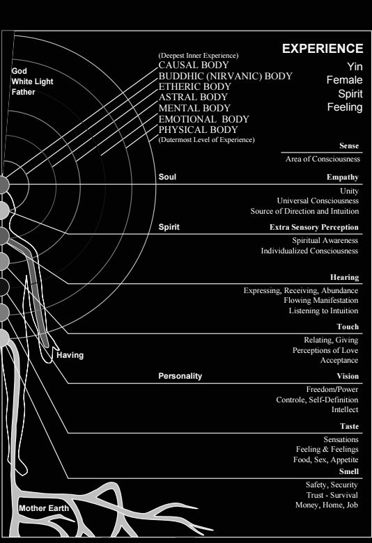 Martin Brofman - Chakra Reference Chart showing the Body/Mind Interface through the Chakras, relating specific Chakras to specific parts of the Consciousness, and specific parts of the Body,...