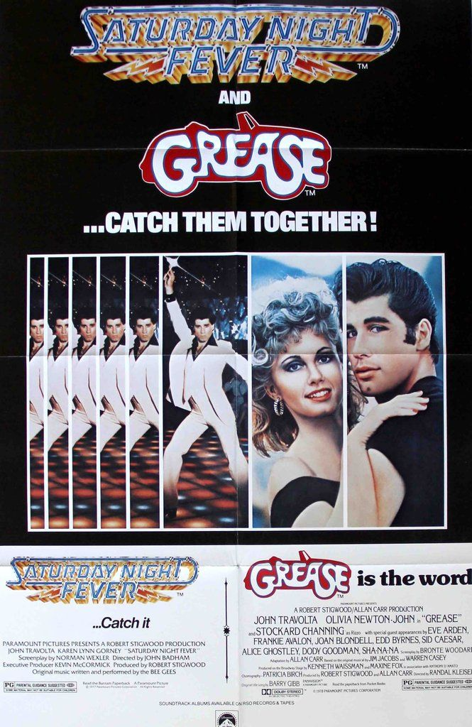 Grease (1978) / Saturday Night Fever (1977) Original Movie Poster