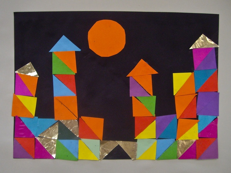 Paul Klee inspired 1st grade collage project.