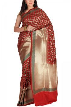Red & Green Meena Butti Zari Banarasi Silk Saree