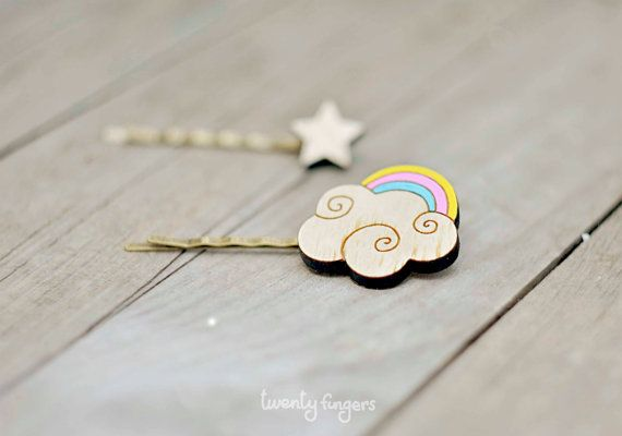 Wood bobby pin set of 2 pieces  rainbow and by TheTwentyFingers, $11.00