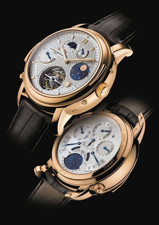 Million Dollar Watches: 7 Of The Most Expensive Watches Over $1 Million | Produced as a limited edition of only seven pieces, the Vacheron Constantin Tour de I'Ile, which celebrated the brand's 250th anniversary, is priced at $1,538,160. The watch has two faces (on the front and back) to make room for its many displays, including a second time zone, perpetual calendar, and sunset time indicator, among others. | WatchTime