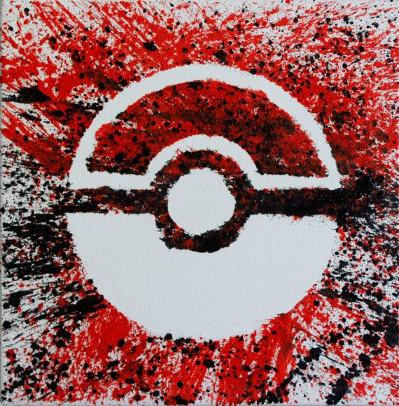 12x12 Oil on hand stretched canvas. I made this splatter painting of a Pokeball inspired by the TV show Pokemon.