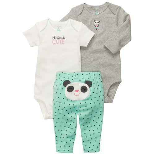 Carter's Baby Girls 3-piece L/S Bodysuit Pants Set (Newborn, Heather Panda)