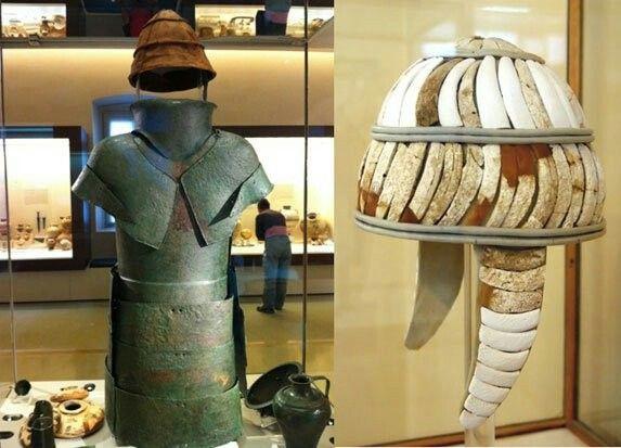 Mycenaean bronze armor and Boar Tusk Helmet