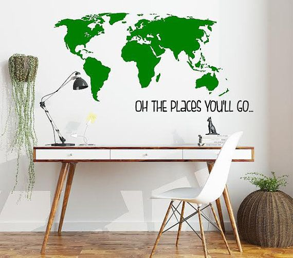 20 best home decor vinyl decals images on pinterest nursery large world map vinyl decalsticker nursery wall decal oh the places youll go dr seuss decor gumiabroncs Choice Image