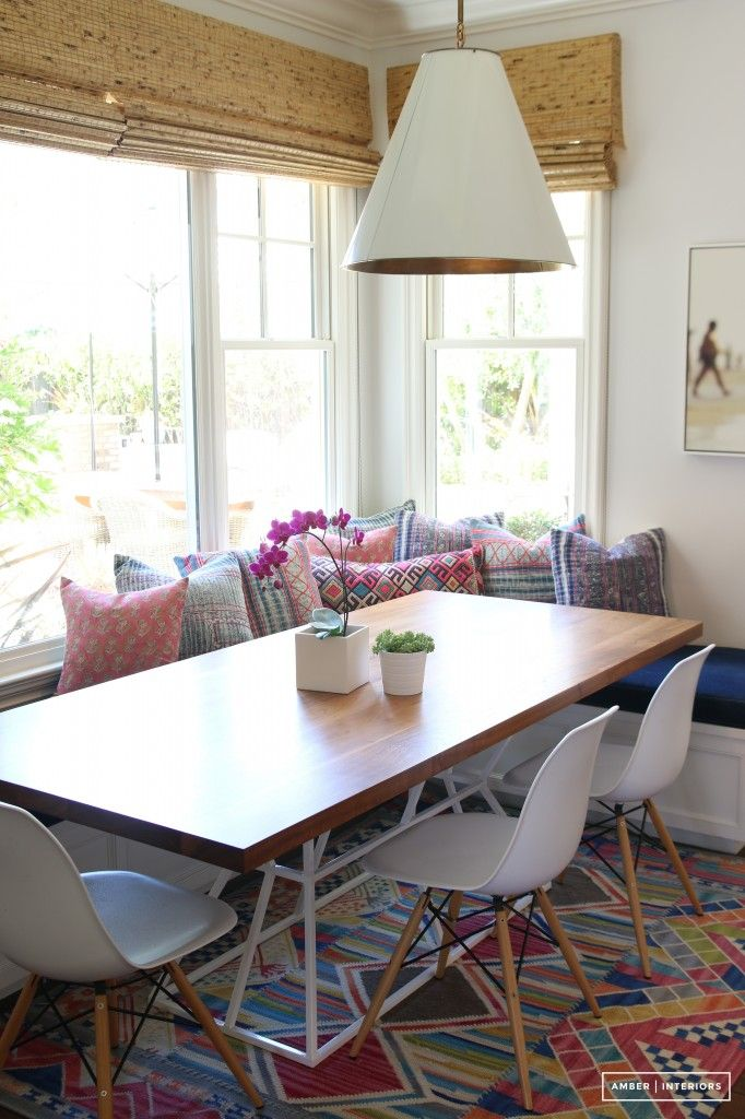 Before and After: A Family Home Receives a Bold Boho Transformation// breakfast nook, eclectic design, goodman pendant, woven shades