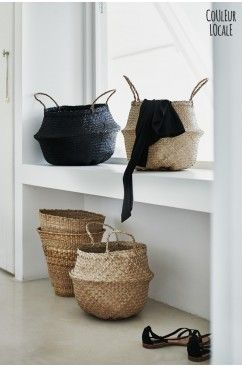rice baskets and the current must have as a planter, woven, handmade, seagrass, ethnic