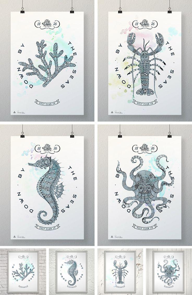 Постеры А3 из коллекции Salt Club 76 в рамках и без них. Можно купить в магазине Fastory Shop. #принты #картина #декор #постер