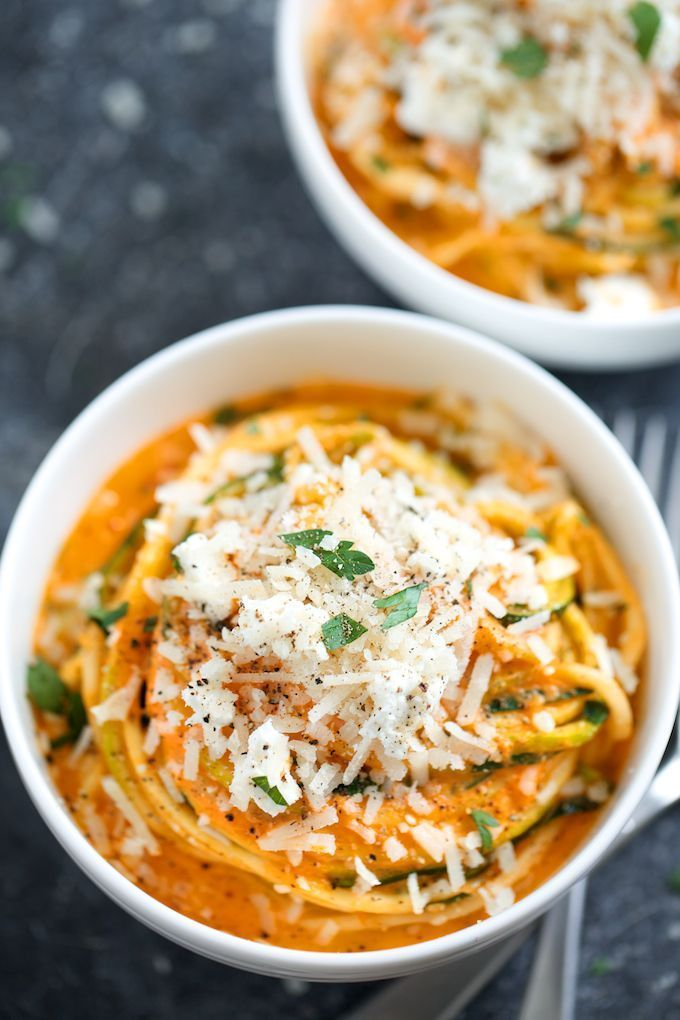 ~ Creamy Roasted Red Pepper Zucchini Noodles ~